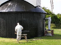 Painting the Roundhouse Walls - Photograph : Roger French