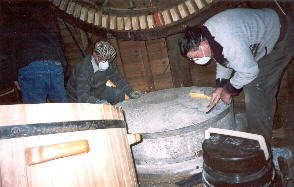 The 17½ hundredweight millstones are periodically cleaned